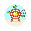 business, target, arrow, cash, dollar, hit, middle, money icon