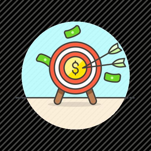 arrow, business, cash, dollar, hit, middle, money, target icon