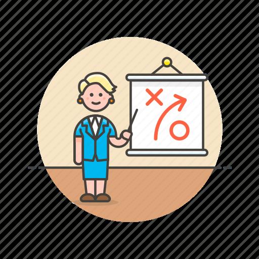 board, business, growth, plan, presentation, strategy, woman icon