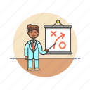 business, growth, idea, man, plan, presentation, strategy icon