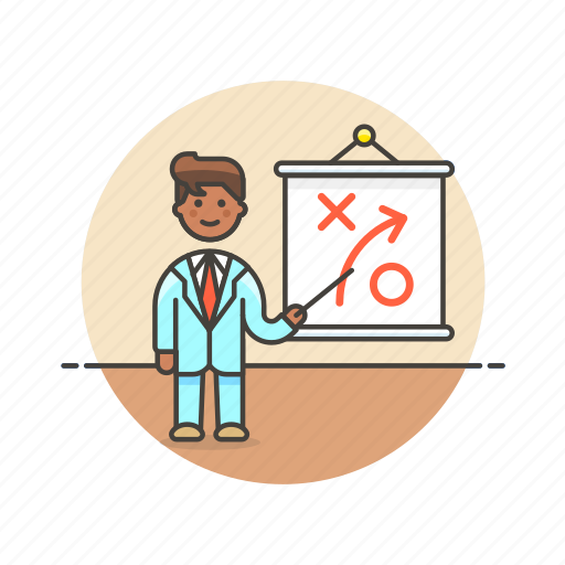 business, growth, idea, man, plan, presentation, strategy icon