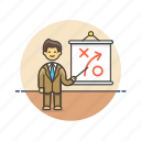 business, growth, man, plan, presentation, strategy icon