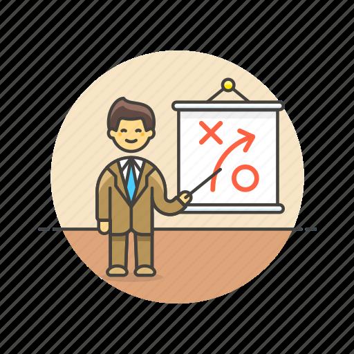 business, growth, man, plan, presentation, strategy icon