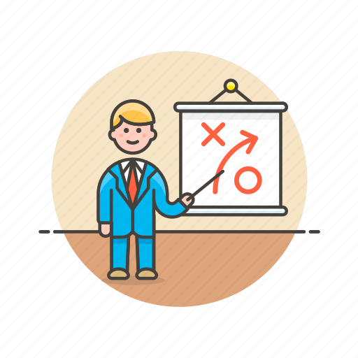 analytics, business, growth, man, path, plan, report, strategy icon