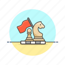 business, plan, strategy, victory, chess, flag, play icon