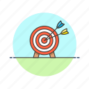 arrow, business, goal, hit, middle, shoot, target icon