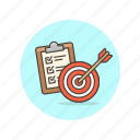 business, checklist, customer, goal, meet, requirement, target icon