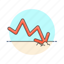 business, fail, management, plan, analytics, down, fall icon