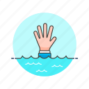 business, fail, down, drown, finance, help, underwater icon