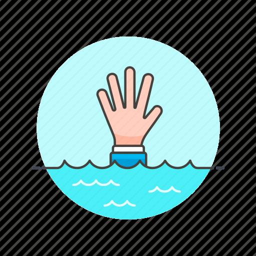 business, down, drown, fail, finance, help, underwater icon