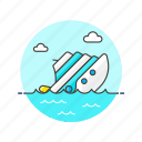 business, down, drown, fail, ship, sink, water icon