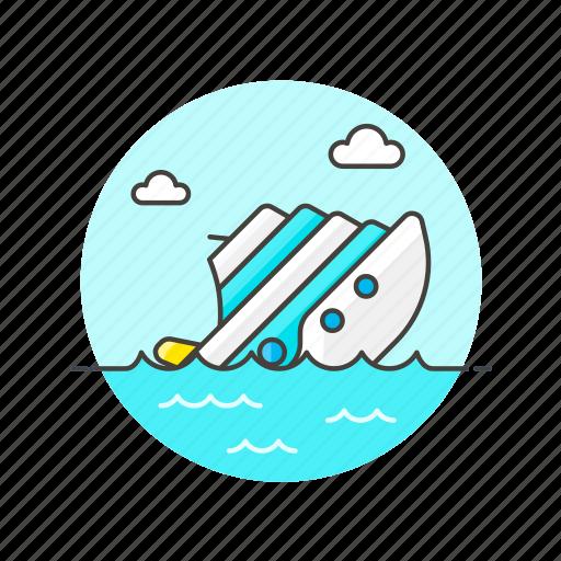 business, down, drown, fail, ship, sink, water icon