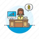 adviser, business, financial, dollar, goal, graph, money, woman icon