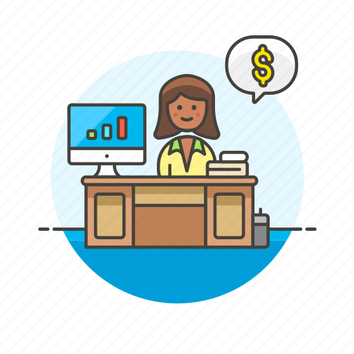adviser, business, dollar, financial, goal, graph, money, woman icon