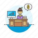 adviser, business, chart, dollar, financial, graph, woman icon