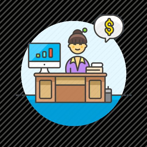 adviser, business, chart, dollar, financial, graph, woman icon