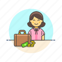 adviser, briefcase, business, cash, finance, money, woman icon