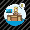 adviser, business, desk, dollar, financial, graph, money, woman icon