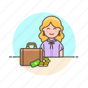 adviser, business, financial, briefcase, cash, money, woman