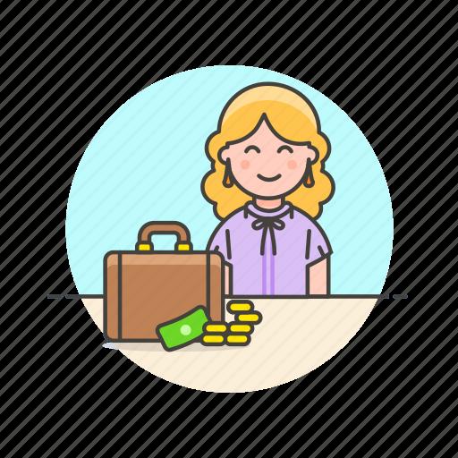 adviser, briefcase, business, cash, financial, money, woman icon