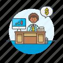 adviser, business, chart, dollar, financial, goal, man, money icon