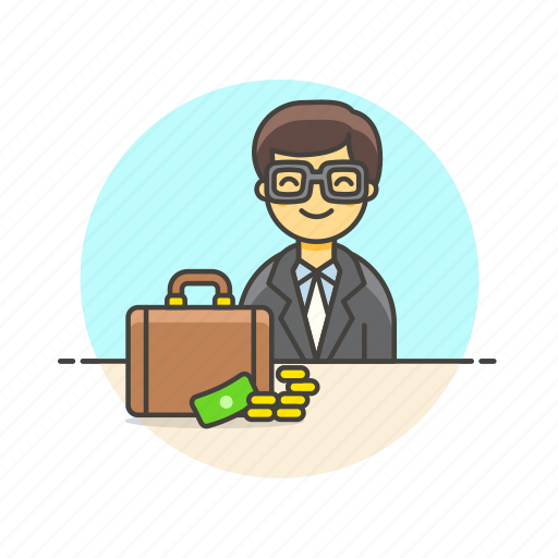 adviser, briefcase, business, cash, financial, man, money icon