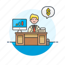 adviser, business, dollar, financial, graph, man, money icon