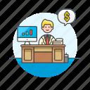 adviser, business, financial, dollar, graph, man, money icon