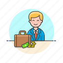 adviser, briefcase, business, cash, financial, man, money icon