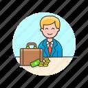 adviser, business, financial, briefcase, cash, man, money icon