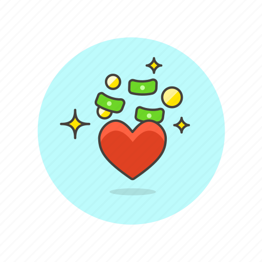 business, cash, favorite, financial, heart, love, money icon
