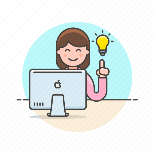 bulb, business, find, idea, light, plan, solution, woman icon