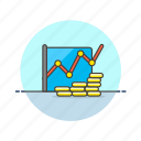 analytics, business, coin, finacial, graph, grow, money icon