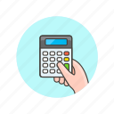 business, calculator, hand, hold, device, finance, finger icon