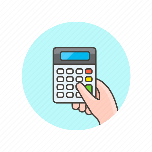 business, calculator, device, finance, finger, hand, hold icon