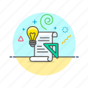 art, business, design, document, idea, lightbulb, solution, strategy icon