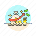 business, cash, financial, growth, income, increase, money icon