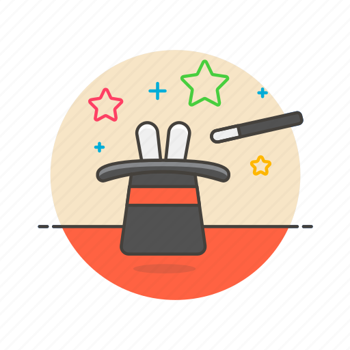bunny, business, hat, luck, magic, trick, wand icon