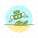 angel, business, cash, guard, lucky, money, safe icon