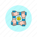 business, currency, money, union, connect, strategy, strong, together icon