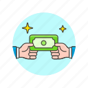 business, cash, exchange, hand, money, pay, transfer icon