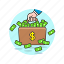 business, luggage, money, briefcase, carry, cash, dollar icon