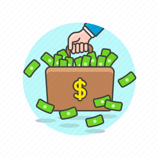 briefcase, business, carry, cash, dollar, luggage, money icon