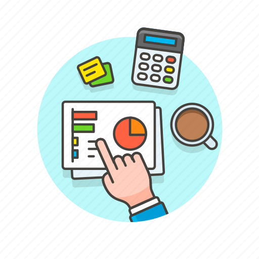 analytics, business, coffee, document, graph, office, work icon