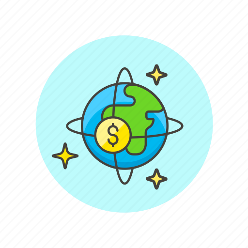 business, currency, dollar, earth, globe, money, world icon