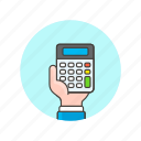account, business, calculator, device, finance, hand, hold icon