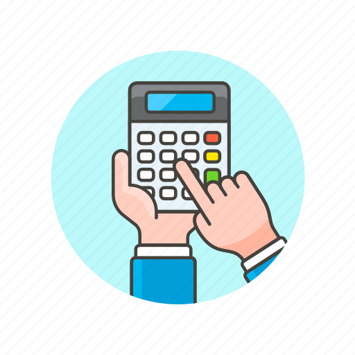 business, calculator, device, finger, hand, tap, work icon