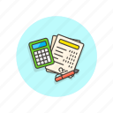 billing, business, calculator, finance, equipment, paperwork, office icon