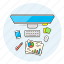 business, desktop, document, imac, iphone, stickynote icon