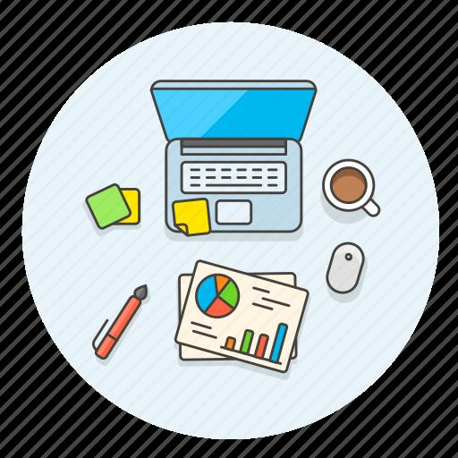 analytics, business, chart, desktop, finance, graph, macbook, office icon